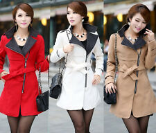 Spring 2014 fashion coats Women's warm coat Wool Blend Trench Belted Long Jacket