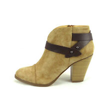 Women Almond Toe Faux Leather Boot Casual Ankle Bootie Chunky Heel Brag Natural