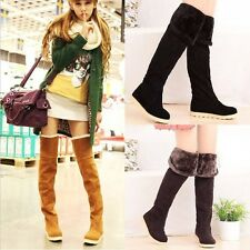 Flat Thigh High Boots Winter Over The Knee Faux Suede Fur Womens
