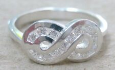 NEW 925 STERLING SILVER Infinity Lucky 8 Cz teen girl women LADY ring sz I K M P