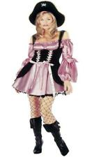 Ladies Womens Pink Pirate Fancy Dress Silky Sexy Full Costume Corset Hat 2352