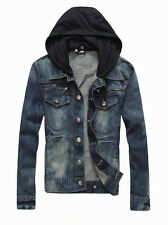 Hot sales mens denim jacket With Detachable Hood Mens Hoodies jacket All sizes