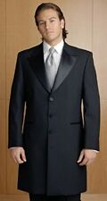 Men's Black 3/4 Length Frock Victorian Tuxedo Coat Jacket - All Sizes + FREE S/H