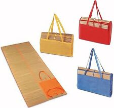 LARGE STRAW HOLIDAY BEACH MAT BAG POCKET FOLDS UP FOR EASY CARRYING HANDLE POOL