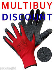 12 PAIRS LATEX RUBBER COATED SAFE GRIP WORK GLOVES BUILDERS GARDEN QUALITY