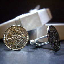 LUCKY SIXPENCE 6d COIN CUFFLINKS PICK YOUR YEAR 1947 - 1967 +BOX