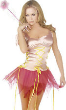 Ladies Womens Pink Fairy Fairies Fancy Dress Tutu Corset Silky Godmother Wand