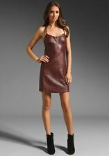 NWT AUTH T By Alexander Wang Merlot Leather Spaghetti Strap Mini Dress $540