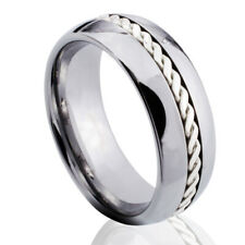 Tungsten Carbide Ring Sterling Silver Braid Inlay Men Jewelry Women Wedding Band