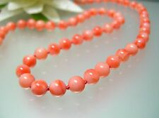 Vintage 5.5 mm angel skin nature pink sea Coral Necklace 14k gold clasp in 19""