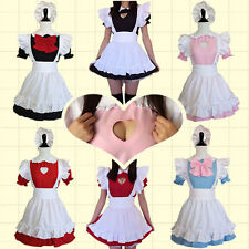 Japanese Maid Costume Heart Shape Chest Cut Out with Bow Lolita Uniform Cosplay