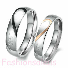 "Stainless Steel ""Real Love"" Couple Wedding Band Love Heart Rings Size 4-16#"