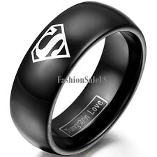 8mm Tungsten Silver Laser Etched Superman Pattern Band Rings for Men&Boys Black