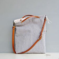 Monday Morning Studios: Convertible Tote in Cotton Ticking & Leather, 5 Colors