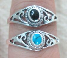925 STERLING SILVER Small Oval Turquoise & Black Onyx Filigree Dome ring sz N P