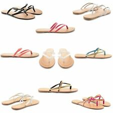 NEW GIRLS LADIES TOE POST SUMMER FASHION GOLD ANKLE STRAP FLAT SANDALS UK SIZES
