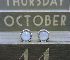 Silver Birthstone Earrings October White Opal Made with Swarovski Crystals 925