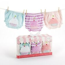 "Baby Aspen ""Baby Cakes"" Set of 3 Cupcake Bloomers Baby Girls 0-12M # BA15044 Box"