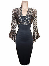 Black/Gold Lace Sweetheart Neck Pencil Cocktail Party Evening Dress Size 8-18