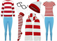 Mens Women Where Is Red White Stripe T shirt Hat Fancy Dress Wenda Glasses Waldo