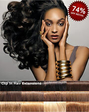 BODY WAVE Black #1 #1B 100% Remy Clip in Full Head set Human Hair Extensions