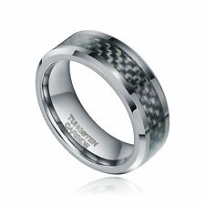 8mm Tungsten Carbide ring Black Carbon Fiber Inlay Wedding Band Men's Jewelry