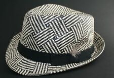 BLACK & WHITE STRAW TRILBY HAT, with feather band , 57 cm Small medium