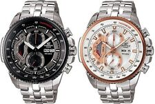 Casio Edifice Chronograph Black / Silver w Rose Gold Stainless Steel Gents Watch
