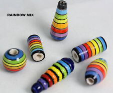 RAINBOW design         Peruvian ceramic  Hand Painted beads      Lots  x 4