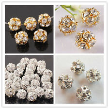 50pcs Gold/Silver Plated Bayberry ball rhinestone crystal spacer bead