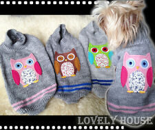 Pet Clothes Dog Cat Sweater OWL Jumper Fashion Coat Clothing