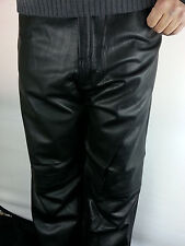 Mens Genuine Sheep Leather Pants Real Leather BLACK (All Sizes) Brand New