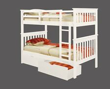 TWIN OVER TWIN MISSION BUNK BED W/ DRAWERS AND/OR TENT  - WHITE - BUNK BEDS