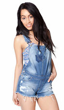 Womens Denim Bib Overall Shorts Stonewash Blue Scatter Rip Jeans 4 6 8 10 12