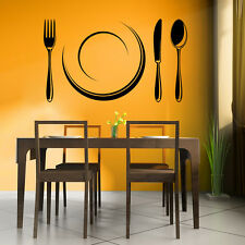 Cutlery Set And Plate Wall Sticker Kitchen Wall Decal Art