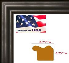 "Wholesale .75"" in thin Satin Black Solid Wood Picture Poster Frame"