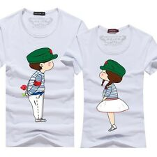 7-color Women men tops for summer clothes Model couple Lovers couple T- shirt 2#