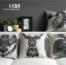 square pillowcase black owl deer head bird animal print pillow cover case 18""