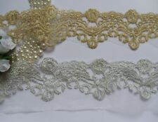 Metallic Gold Sliver Embroidery Scollop Flower Lace Trims-Color Choice (T627)