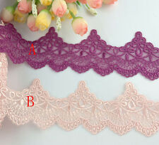 "2""*1yard delicate pink/traffic purple embroidered flower tulle lace trim for DIY"