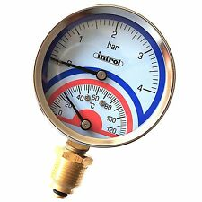 "80mm Thermomanometer various connections Temperature and Pressure Gauge1/2"" BSP"