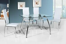 Stylish Glass Dining Table with 4 Matching PU Leather Chairs in Black Or White