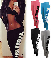 Ladies Womens Work Out Text Graphic Leggings Casual Stretch Gym Slogan Yoga