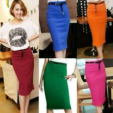 Hot Women Lady Fitted Business Knee Long Slimming High Waist Office Pencil Skirt