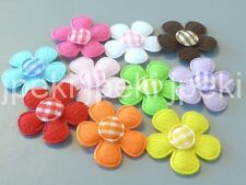 50 Padded Felt Flower Appliques Gingham Center 1 inch 10 Colors U Pick A268