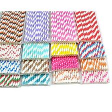 25 x STRIPED PAPER DRINKING STRAWS WITH COLORFUL STRIPES AND DOTS