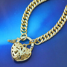 """Exclusive 9K Yellow Gold Filled Solid Euro Bracelet With Heart Locket """"Stamp 9K"""""""