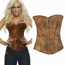 Women New Leopard Bustier Corsets Overbust Sexy Tops G-string Lace-Up Lingerie