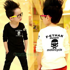 Fashion Stylish Kids Toddlers Boys Girls Letters Skull 100% Cotton Tops T-Shirt