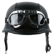 New DOT German Black Leather Motorcycle Open Face Helmet Pilot Goggles M L XL
